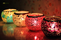1PC Home Accessories Candlesticks Taiwan European Style Glass Crafts Bar Color Mosaic Candle Holder J1130