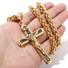 "2019 Nieuwe Ontwerp Stuk Katholieke Jezus Christus Kruis Kruisbeeld Rvs Hanger Ketting 24 ""Chain"