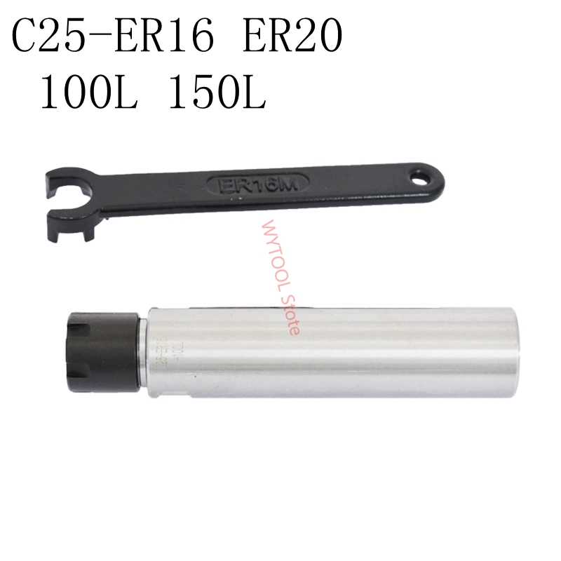 """ER32 Collet Chuck 1/"""" x 8/"""" Straight Shank CNC Precision Extension Milling Holder"""