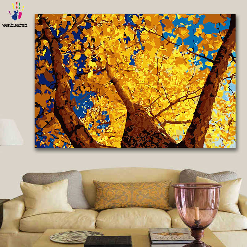 DIY colorings pictures by numbers with colors Autumn ginkgo Autumn landscape picture drawing painting by numbers framed Home