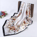 Female Satin Big Square Silk Scarf Printed,Hot Sale Women flower Silk Scarf Wraps For Summer,Autumn 90*90cm