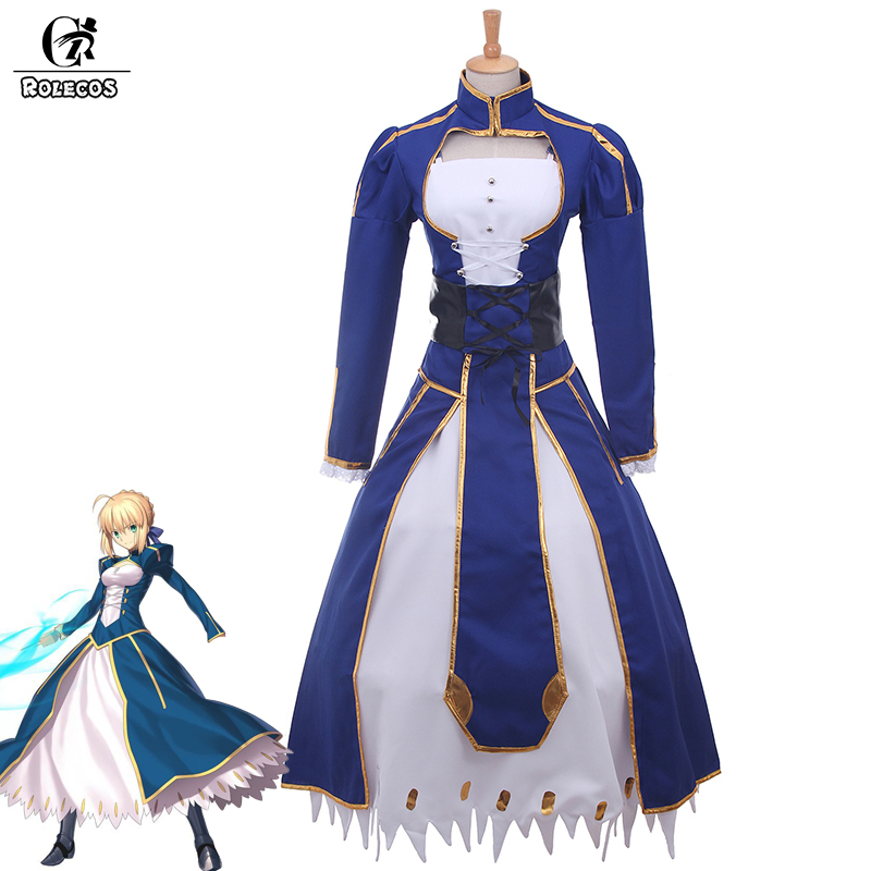 ROLECOS New Japanese Anime Fate Stay Night Cosplay Costume Fate Zero Saber Arturia Pendragon Cosplay Costumes Vintage rolecos japanese anime fate stay night altria pendragon cosplay costume fate zero saber arturia pendragon cosplay costume