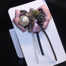 i-Remiel Bow Tie Cloth Art Pins And Long-Flowing Brooches Business Butterfly Shirt Collar Accessories Lapel Pin Broches Women
