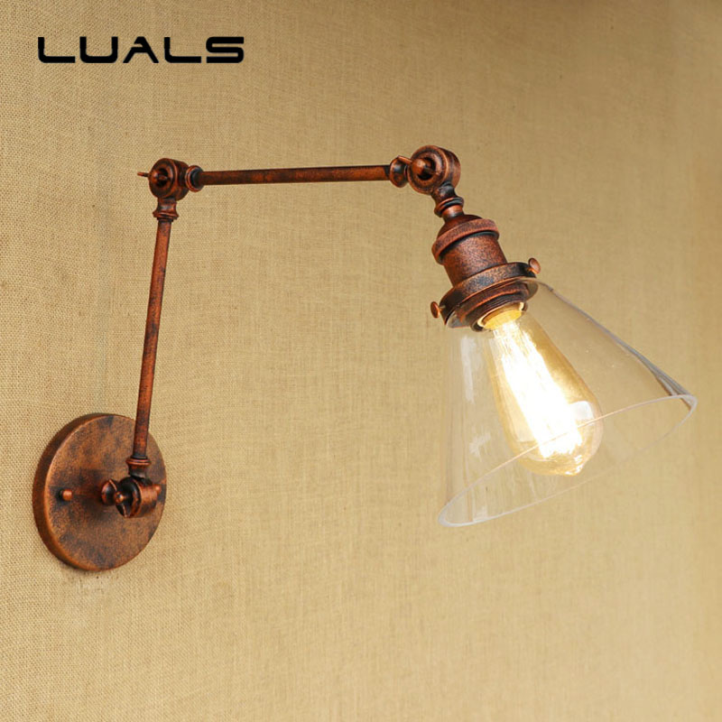 Loft Style Retro Wall Light Creative Iron Simple Glass Lampshade Wall Lamp Cafe Bar Restaurant Edison Wall Lights Deco Lighting