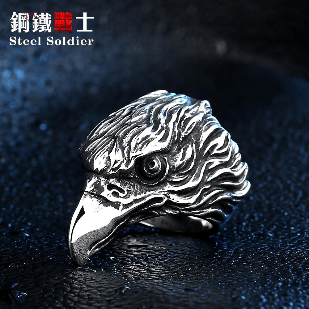 čelik vojnik pad utovar i veleprodaja od nehrđajućeg čelika orao punk muškarci prsten modni 3D dizajn životinja nakit