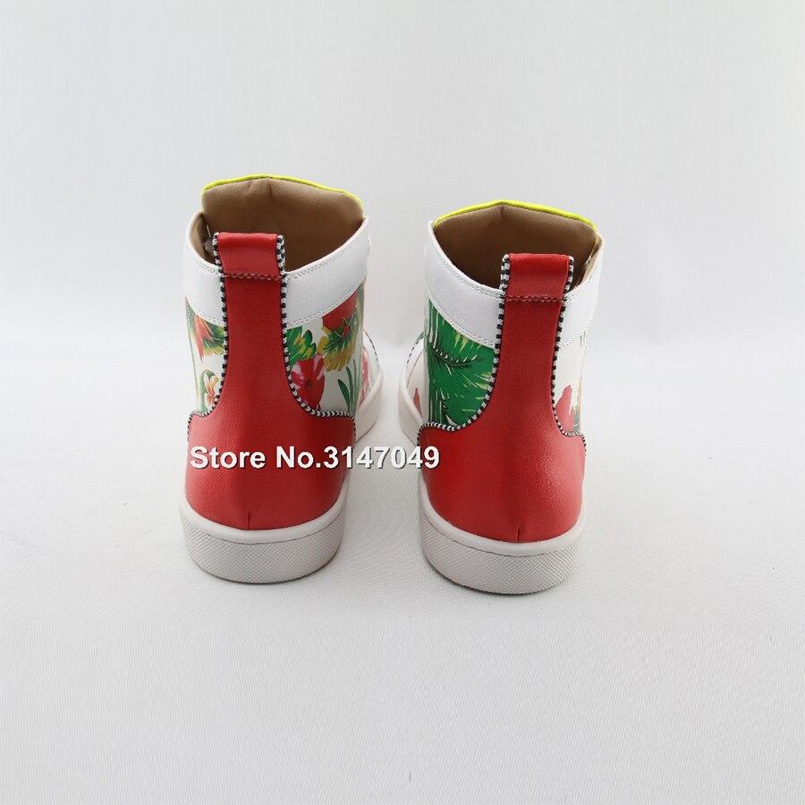 OKHOTCN/белая мужская повседневная обувь на шнуровке высокая обувь с цветочным принтом модные уличные мужские кроссовки с круглым носком сез... - 3