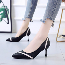 Liren 2019 Summer Fashion Elegant Lady Shallow Sandals Pointed Wrapped Toe High Hoof Heels Striped Phase Style