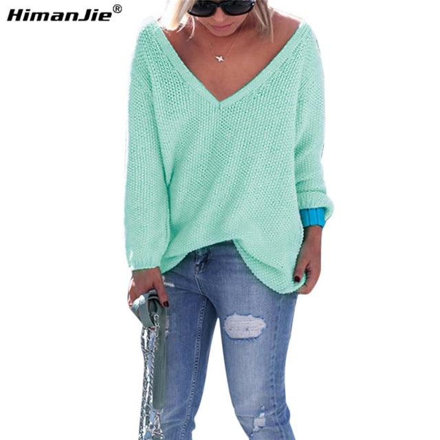 HimanJie сексуальная Свитер женский 2016 осень зима женская мода свободные длинными рукавами V-образным вырезом повседневная топы свитера для женщины дамы