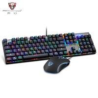 Motospeed CK888 RGB светодио дный Подсветка Игры Механическая клавиатура + регулируемый Точек на дюйм Мышь комплект с 1,8 м кабель для компьютера Pro ...