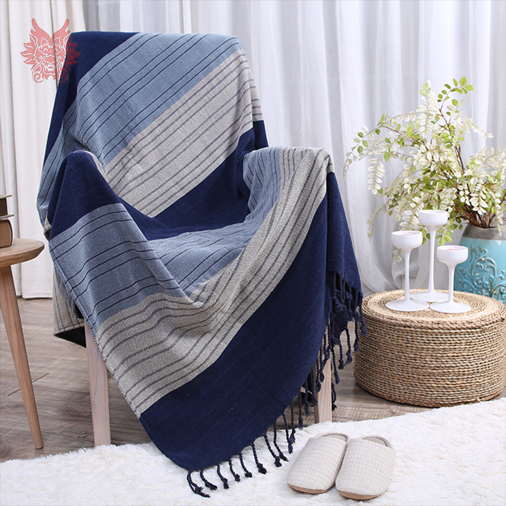 US $47.8 50% OFF|Blue striped weaving Chenille cotton sofa towel cover  blanket for chair bed throw with tassel funda sillon capa de sofa SP5449-in  ...