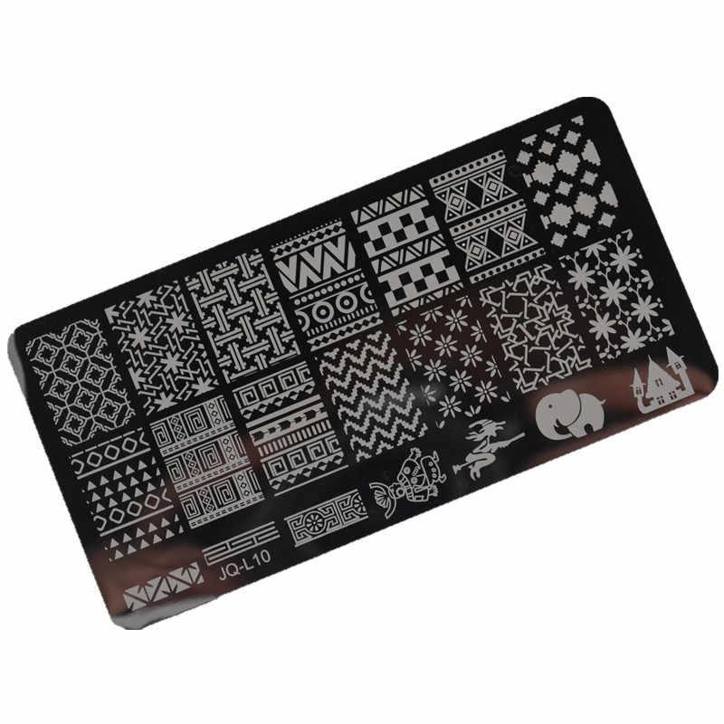 1 adet Nail Art damga damgalama görüntü plaka 6*12cm paslanmaz çelik tırnak şablon manikür Stencil araçları, 20 stilleri seçmek için