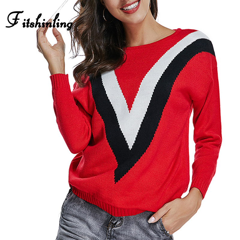 Fitshinling Korean style striped sweater female 2019 new ...