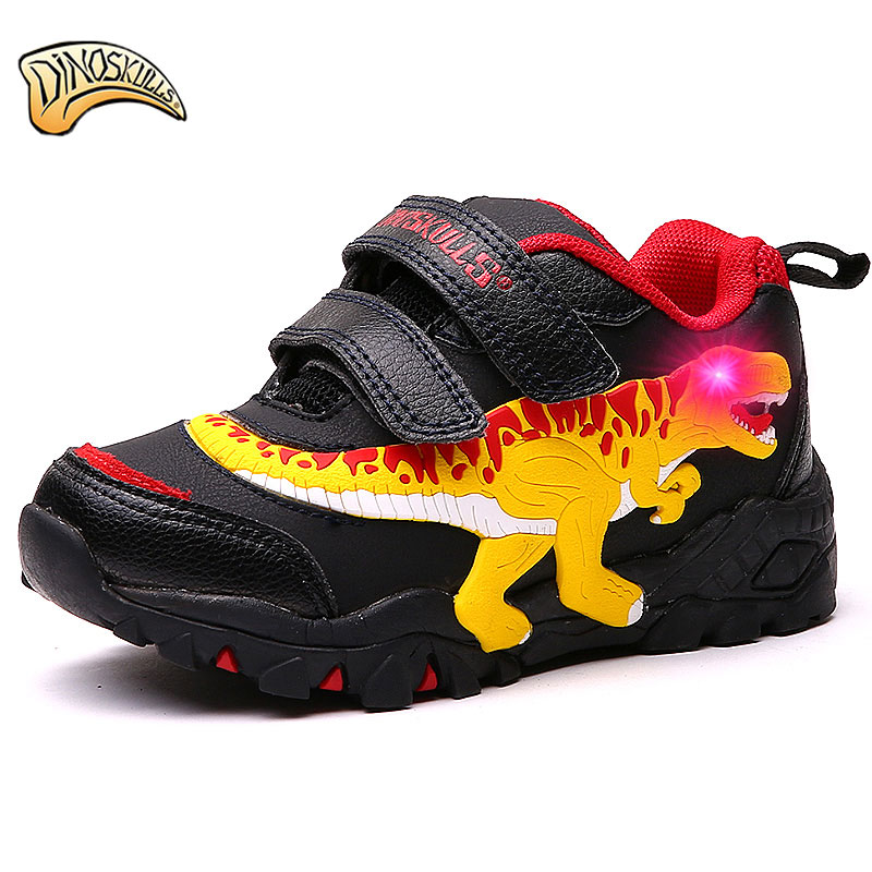 $32.62 Dinoskulls Children's LED Light Up Shoes BoysT- Rex Dinosaur Sneakers Flashing Light Sneakers Breathable Casual Running Shoes