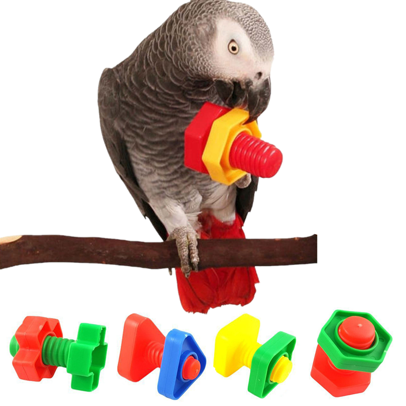 4pc Parrot Toy Chew Bites Swing Cage Nuts Bolts Screw Toy For Parakeet Cockatiel Cockatoo Training Toys Drop Shipping Nomy29