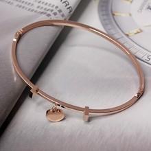 Fashion jewelry bracelet,Peach heart small pendant rose gold titanium steel bracelet,Titanium steel accessories,