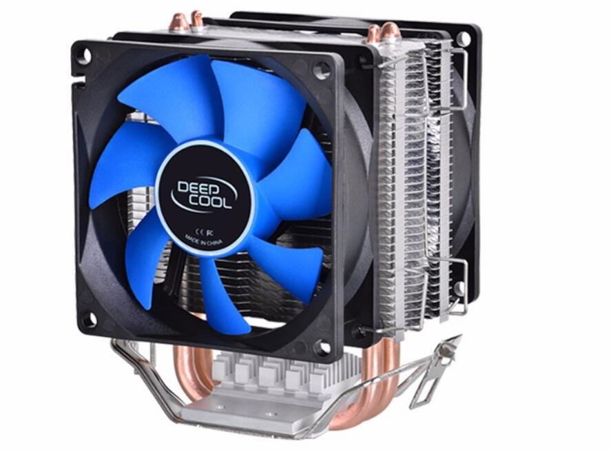 Deepcool MINI CPU cooler 2pcs 8025 fan double heatpipe radiator for Intel LGA 775/115x, for AMD 754/940/AM2+/AM3/FM1/FM2 cooling