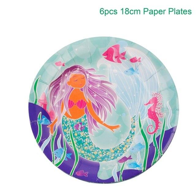 Paper Plate 6pcs Mermaid party plates 5c64f5cb2fb11