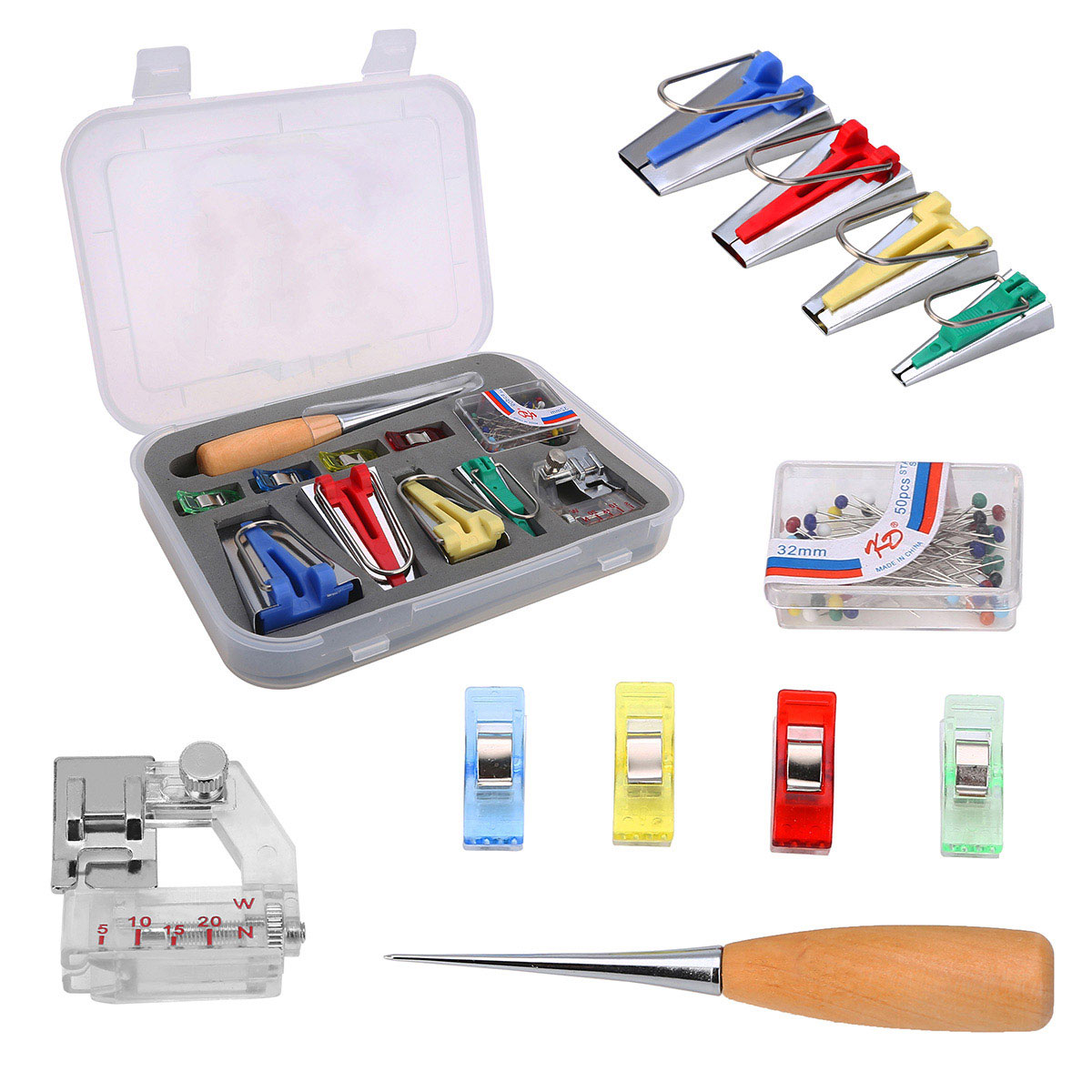 60pcs Fabric Bias Binding Tape Maker Kit Binder Foot Wooden Awl Clips Pins Household DIY Sewing Quilting Tool Set