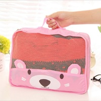 High Quality Practical Cute Bear Grid Bag Set Multifunction Travel Luggage Storage Packing Bag Clothes Case