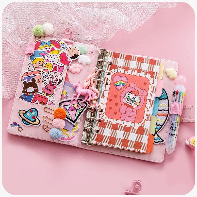 1pc New Girl Diary Cute Cartoon Diy A6 Notebook DIY Girl Heart Account Diary Plan Notebook Korean Loose-leaf Notebook