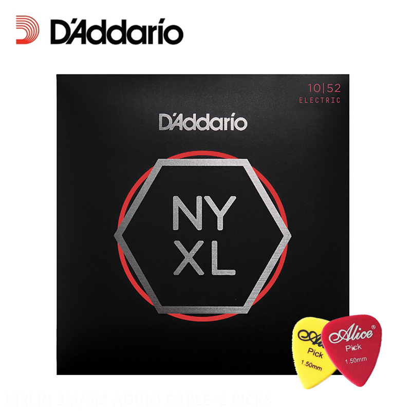 D'Addario NYXL 1052 Nickel Wound Electric Guitar Strings, Light Top / Heavy Bottom, Daddario Guitar Strings (With 2pcs picks) d addario daddario exl110 american made nickel wound electric guitar strings regular light 10 46