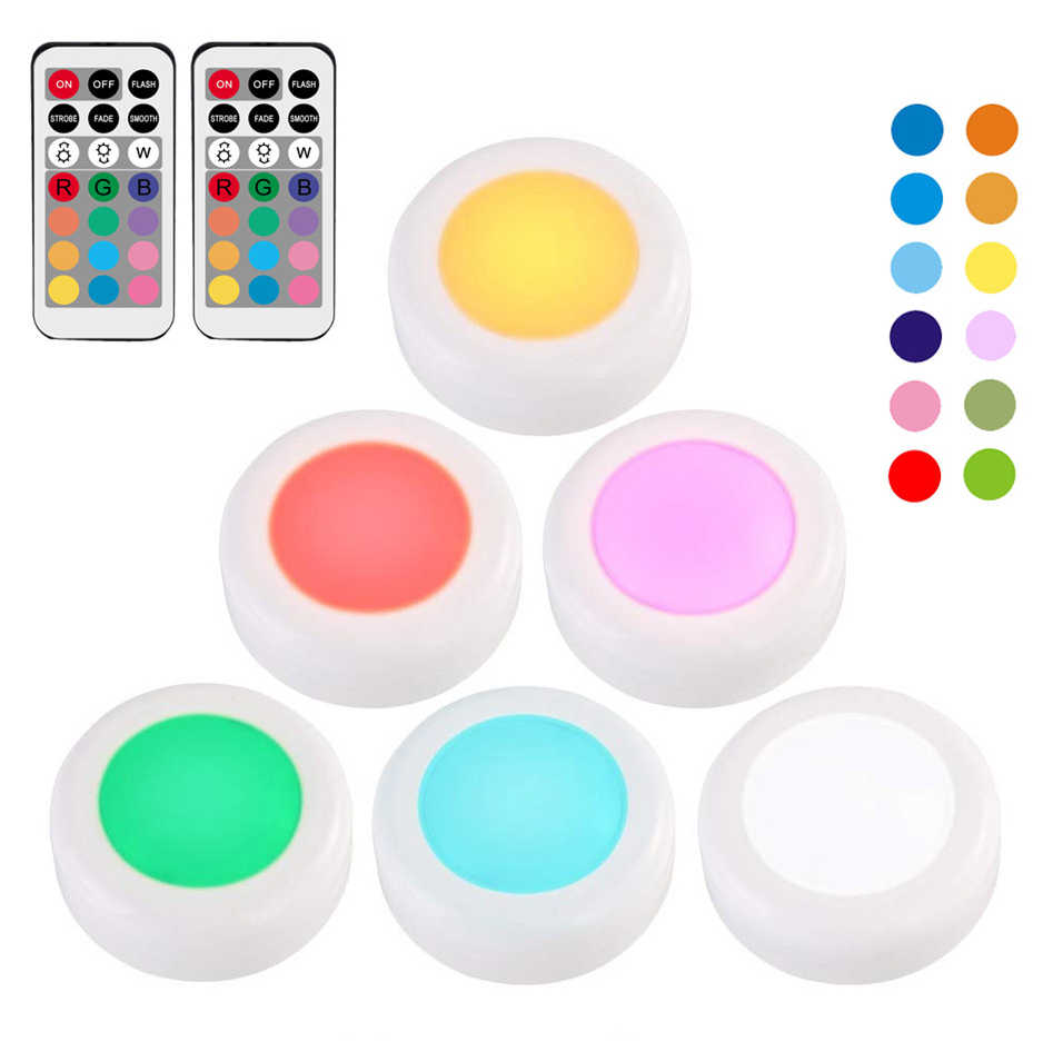RGB 12 Colors LED Under Cabinet Light Dimmable Touch Sensor LED Puck Lights For Cupboard Close Wardrobe Stair Hallway Night Lamp