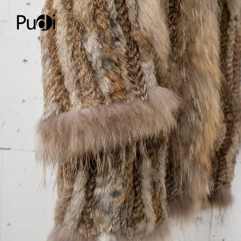 CT7010 femmes tricoté véritable véritable véritable manteau de fourrure de lapin manteau manteau vestes vêtement et col de raton laveur longueur 80 cm-in Réel De Fourrure from Mode Femme et Accessoires    3