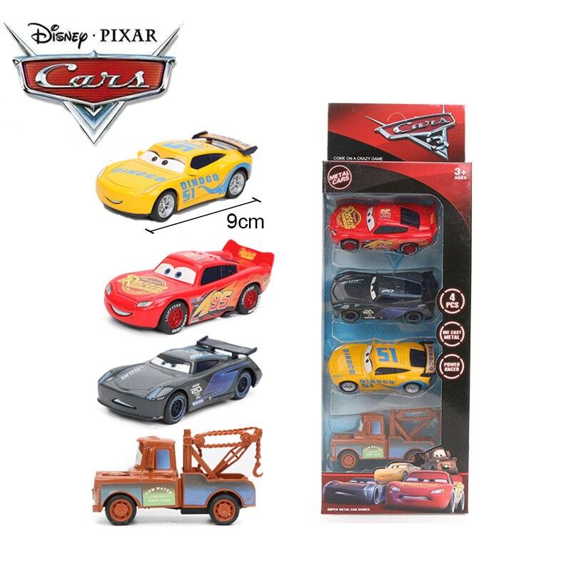 4pcs 9cm Disney Pixar Cars 3 Toys Lightning McQueen Mater Jackson Storm Cruz Ramirez Smokey Diecast Metal Pull Back Car Model