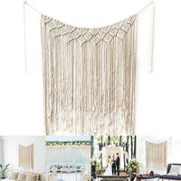 Macrame Wall Hanging Cotton Handmade Woven Wall Tapestry Large Boho Wedding Backdrop Decor QJS Shop
