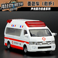 Gift for boy 13cm cool ambulance minibus van car alloy model acousto-optic pull back game toy free shipping