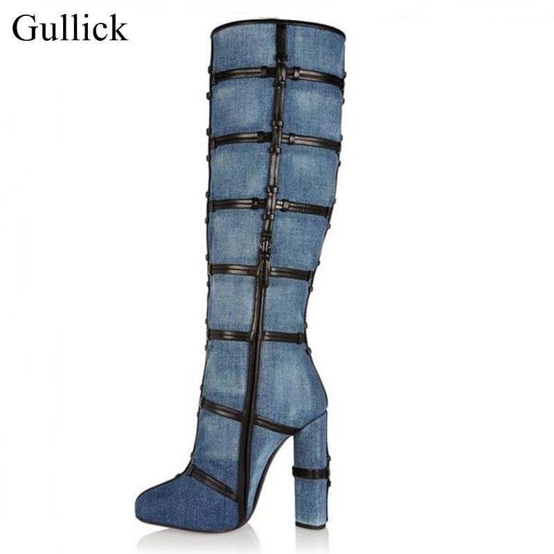 Real Photo Denim Blue Knee High Boots Sexy Chunky Heels Winter Long Boots Women Round Toe High Heel Dress Shoes Big Size 11 2015 hottest drop shipping vintage round toe strappy zip knee high boots studs chunky heel leather boots women high heels j459