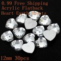 8mm 10mm 12mm Crystal Color Acrylic Rhinestones Flat Back Heart Earth Facets Glue On Craft Beads DIY Jewelry Making Supplies