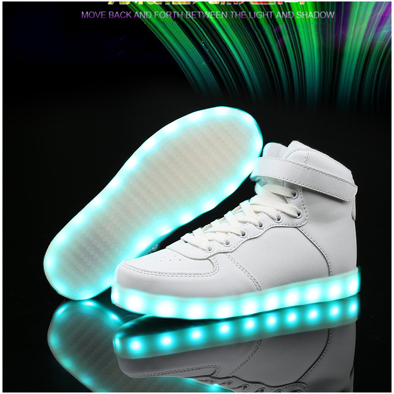ФОТО New 7 Colors lights shoes Luminous Led Light Shoes Men Fashion USB Rechargeable Led Shoes For Adults Casual Shoes high