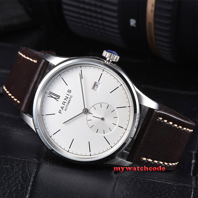 42mm parnis white dial date window coffee leather strap automatic mens watch 95542mm parnis white dial date window coffee leather strap automatic mens watch 955