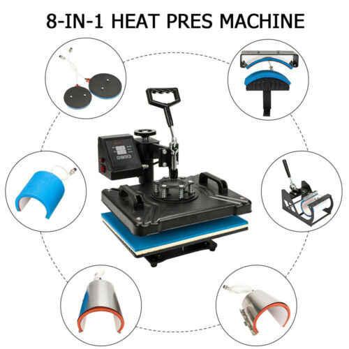 30*38 см 8 в 1 комбинированная термопресс машина сублимационный принтер 2D термопередача ткань крышка Подставка под кружку футболка печатная машина