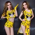 2015 yellow dancer traje del vestido de Ds giró servicio dj trajes del cantante para mujer hiphop jazz bar discoteca mostrar partido