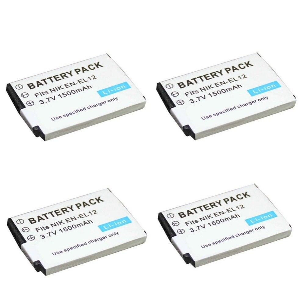 4 pcs 1500 mAh ENEL12 EN EL12 Battery for Nikon Coolpix