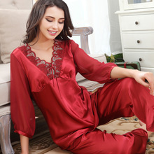 Sweet womens three quarter sleeve satin silk pajamas v-neck sexy homewear with pants bowknot Leisure lace lounge