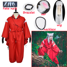 Anime Inuyasha Cosplay Costumes Red Japanese Kimono Men Robe Costume W Wigs Ears And Necklace For Halloween Party men and women