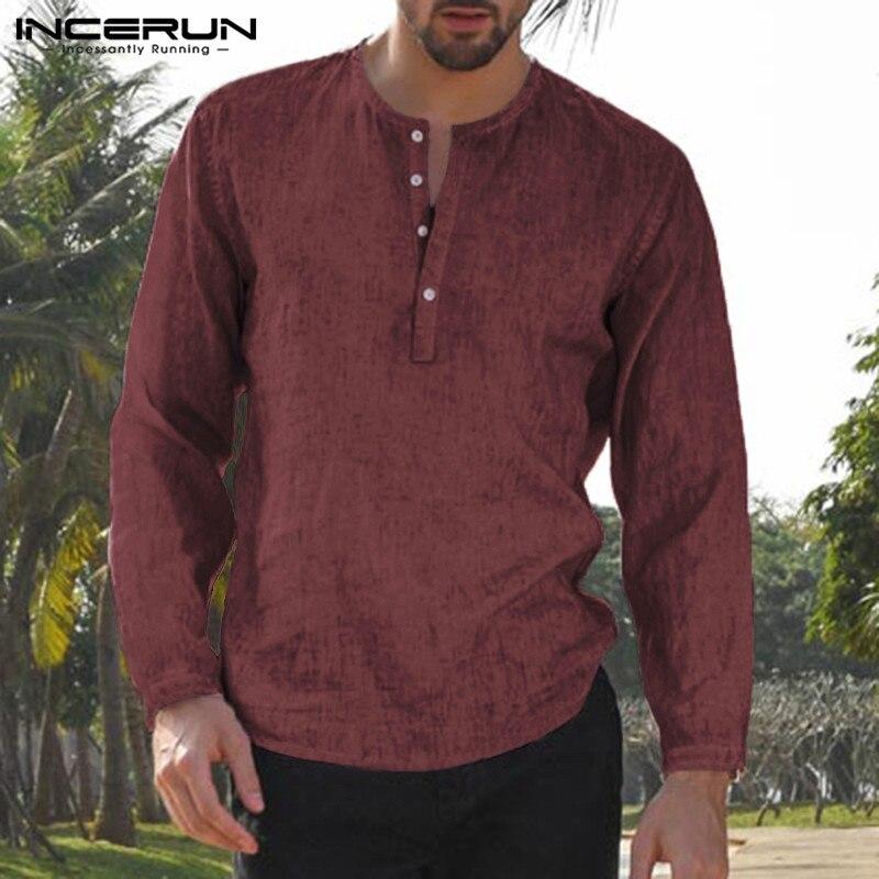 Brand Henley Shirt Retro Men's Shirts Long Sleeve Dress Solid Loose Casual Shirts Hombre Camisa Autumn Tops Masculino INCERUN