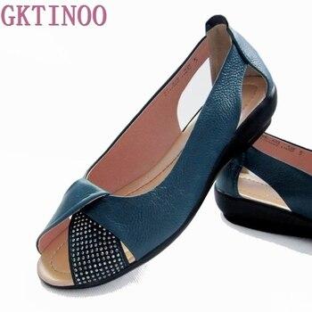 4af487f9 2019 Летняя женская обувь, женские сандалии из натуральной кожи на платформе  с открытым носком, женские повседневные сандалии на танкетке, же.