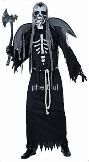 Wholesale -2016 Hot sale  New Style Halloween Cosplay Costume Party Clothing for adult man knitted black hooded robe skull