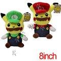 NOVO 2 estilo 20 cm Pikachu Cos Super Mario Bros Brinquedos de Pelúcia Mario Luigi Stuffed Boneca Animal de Pelúcia macia Brinquedo de Pelúcia de Presente de Aniversário