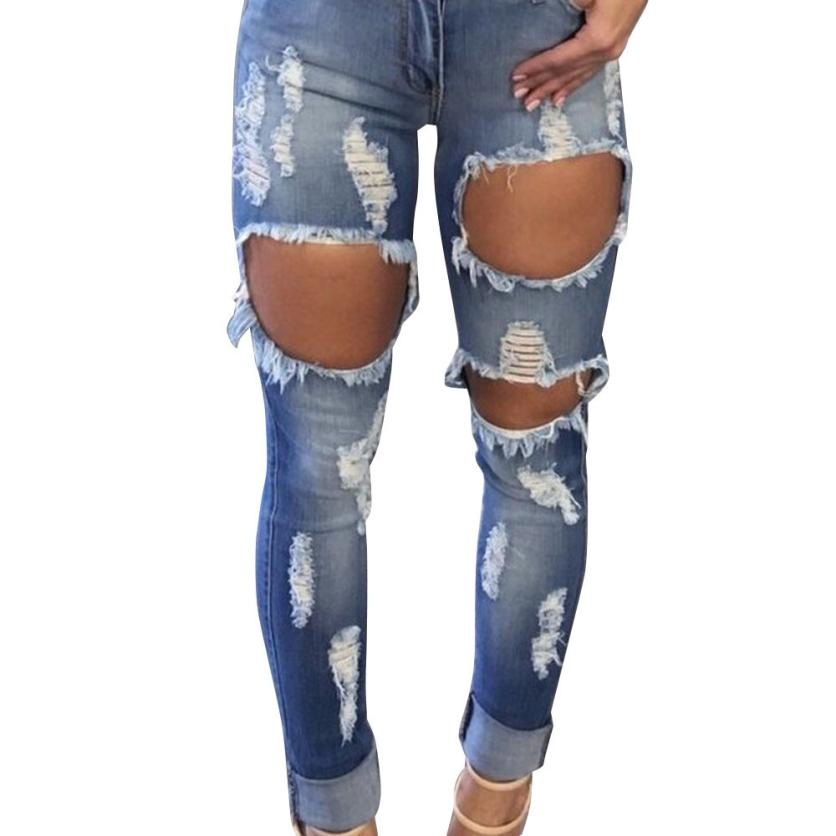 2017 Year best sale Women Hole Destroyed Ripped Distressed Slim Denim Pants Jeans Trousers non-mainstream young men best love 2016 hot sale patchwork ripped holes harem pants jeans slim vintage hole ripped denim distressed boyfriend jeans for women gary