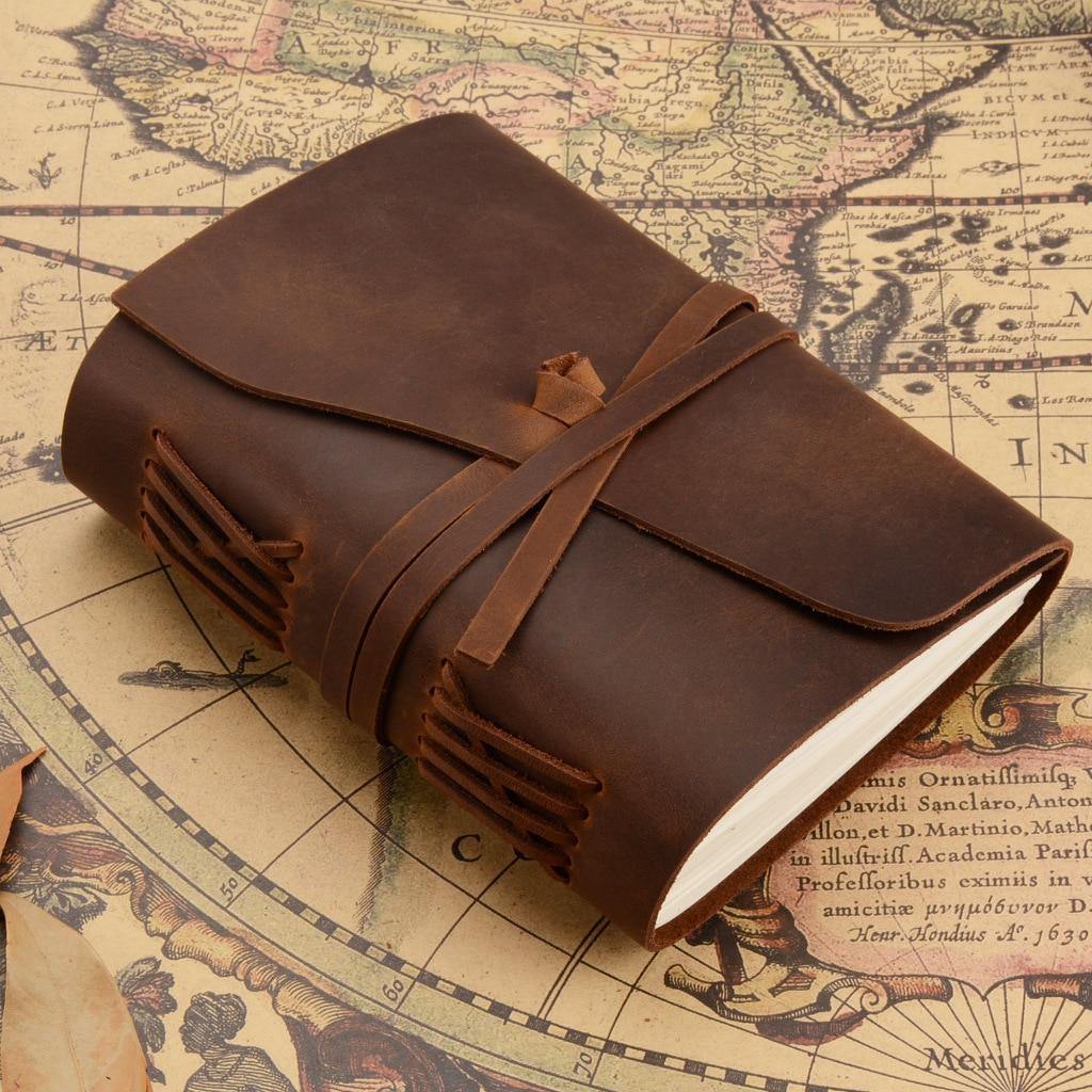 купить junetree Vintage Handmade Leather Diary Notebook Sketchbook Travel Journal Blank Writing Paper Note Books Gifts Stationer по цене 2125.6 рублей