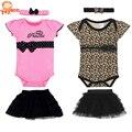 Conjunto de vestuário de bebê nova moda 2015, conjuntos de menina bebê, roupas de primavera e verão para bebê recém-nascido Babador+Saia Tutu+Fita de cabeça
