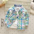 Ребенок с длинными рукавами рубашки 2016 весна случайный мужчина женщина дети одежда 100% хлопок клетчатую рубашку