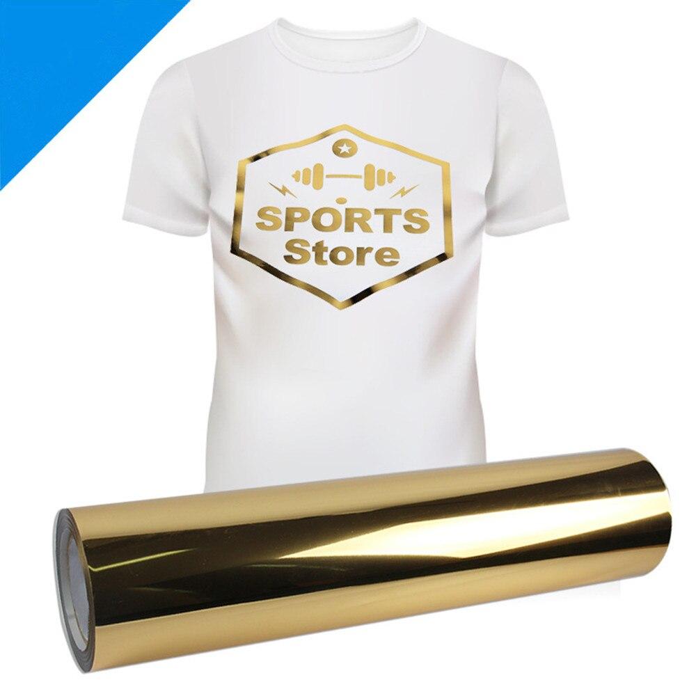 20 ''X 118'' (50 cm x 300 cm) feuille de papier de presse HTV à repasser en vinyle métallisé doré pour vêtement T-shirt PU