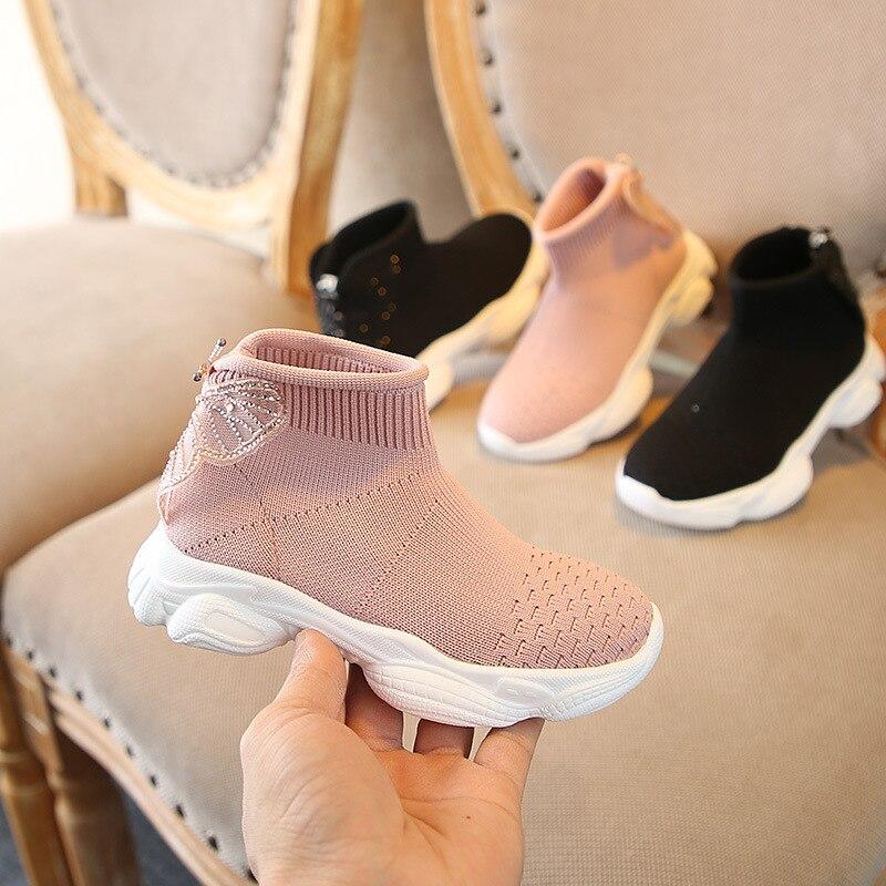 sapatos meninas sapatos da princesa doce meias sapatos da moda respiravel voando tecelagem sapatas dos miudos
