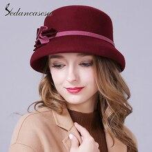 Sedancasesa primavera Inglaterra Estilo Vintage mujer sombrero Fedora  sombrero de Australia de 100% fieltro de lana gorras de fl. 73d4f1411efe